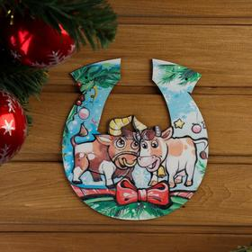 Табличка для бани 'Подкова Символ года 2021. Бык с коровкой', 20×18 см Ош