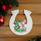 """The sign for bath """"Horseshoe symbol of the year 2021. The bull at the Christmas tree"""", 20×18 cm"""
