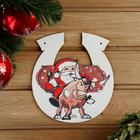 """The sign for bath """"Horseshoe symbol of the year 2021. Santa on the bull"""", 20×18 cm"""