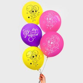 "Balloon 12"" ""happy birthday"", our Princess, 5 PCs."