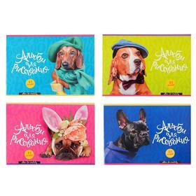 Альбом для рисования А4, 12 листов на скрепке Dog fashion, обложка мелованный картон, блок 100 г/м2, МИКС