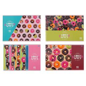 Альбом для рисования А4, 12 листов на скрепке Donut worry, обложка мелованный картон, выборочный лак, блок 100 г/м2, МИКС