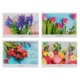 Альбом для рисования А4, 12 листов на скрепке «Цветочный мотив», обложка мелованный картон, блок 100 г/м2, МИКС