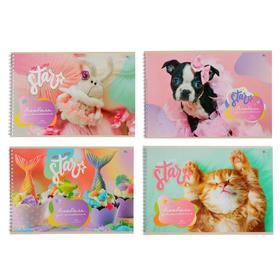Альбом для рисования А4, 20 листов на гребне «MIX - Девочки», обложка мелованный картон, блок 100 г/м2, МИКС