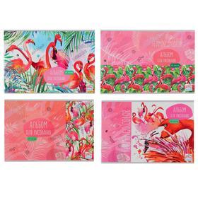 Альбом для рисования А4, 20 листов на скрепке «Цвет фламинго», обложка мелованный картон, блок 100 г/м2, МИКС