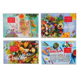 Альбом для рисования А4, 24 листа на гребне «Мой креатив», обложка мелованный картон, блок 100 г/м2, МИКС