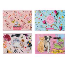 Альбом для рисования А4, 24 листа на скрепке «MIX - Девочки», обложка мелованный картон, блок 100 г/м2, МИКС