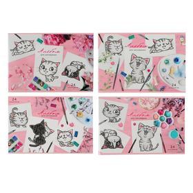 Альбом для рисования А4, 24 листа на скрепке «Портрет котёнка», обложка мелованный картон, блёстки, блок 100 г/м2, МИКС
