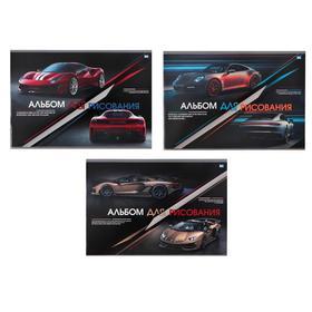 Альбом для рисования А4, 32 листа на скрепке Luxury auto, обложка мелованный картон, блок 100 г/м2, МИКС