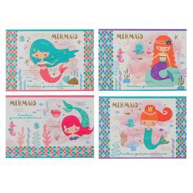 Альбом для рисования А4, 8 листов на скрепке «Маленькая русалочка», обложка мелованный картон, блёстки, блок 100 г/м2, МИКС