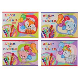 Альбом для рисования А5, 16 листов на скрепке «Игрушки с шарами», обложка мелованный картон, блок 100 г/м2, МИКС