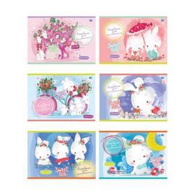 Альбом для рисования А5, 24 листа на скрепке «Зайчики», обложка мелованный картон, блок 100 г/м2, МИКС