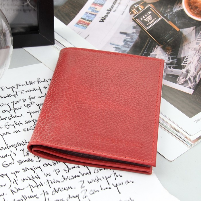 Обложка для автодокументов и паспорта, флотер, 5 карманов для карт, цвет красный