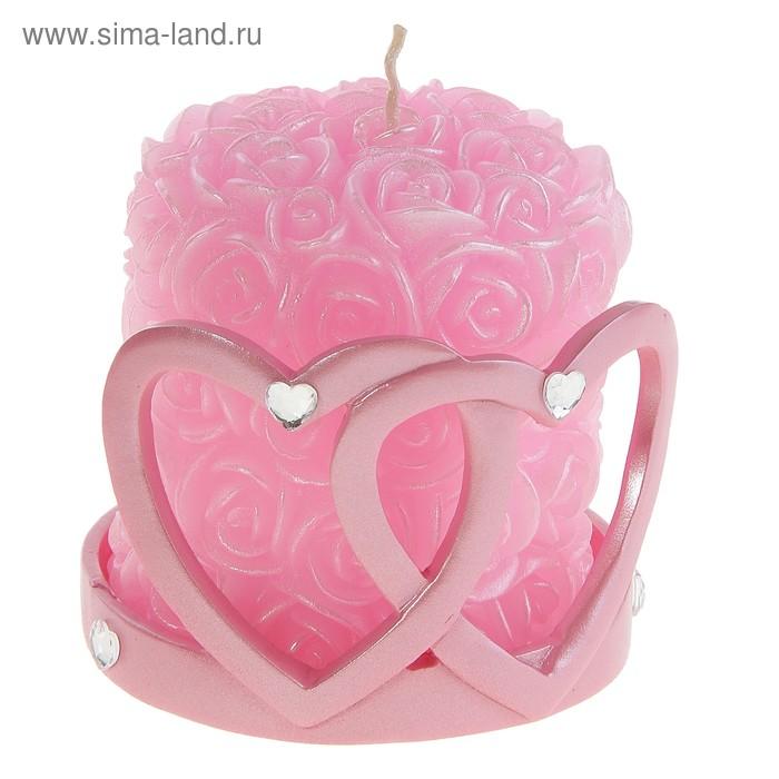 """Свеча в подсвечнике """"Два сердца"""", цвет розовый"""
