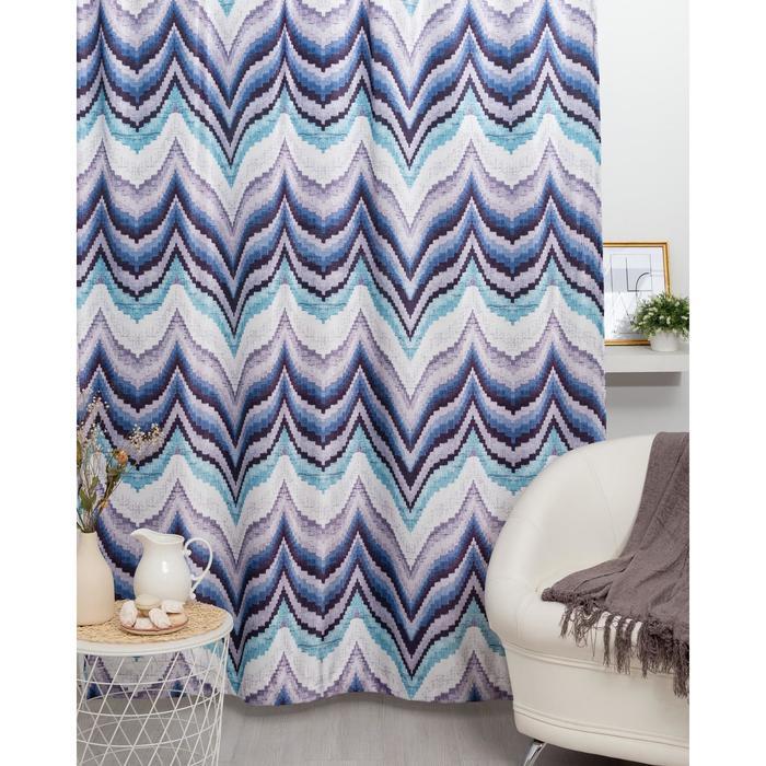 Штора портьерная Этель «Памир» 170х260 см, цвет синий, 100% полиэстер, блэкаут - фото 661701