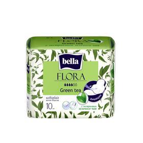 Прокладки женские гигиенические bella FLORA Green tea с экстрактом зеленого чая 10 шт.