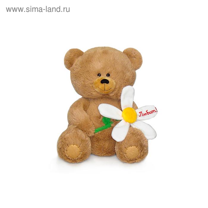 Мягкая игрушка «Медвежонок с большой ромашкой» музыкальная