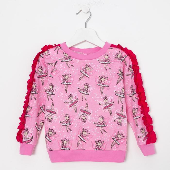 Свитшот для девочки, цвет розовый, рост 86 см - фото 105716166