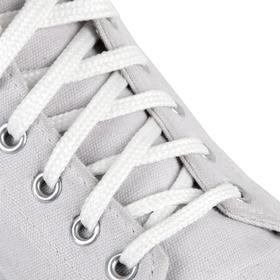 Шнурки для обуви, пара, плоские, 8 мм, 70 см, цвет белый Ош