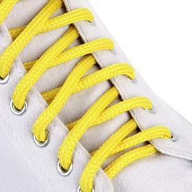 Шнурки для обуви, пара, круглые, 5 мм, 90 см, цвет жёлтый