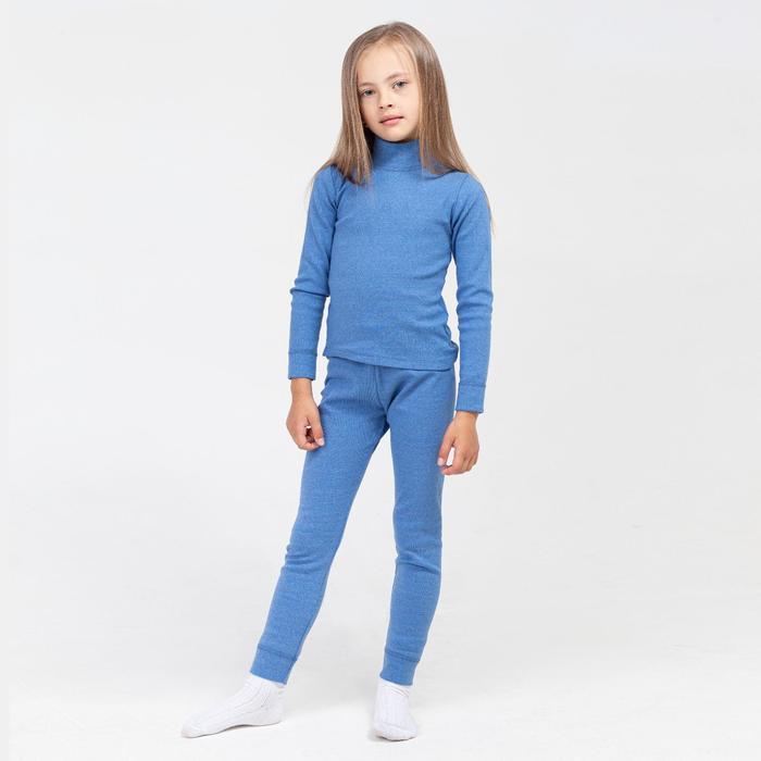 Термобельё для девочки (водолазка,брюки), цвет синий, рост 128 см (34)