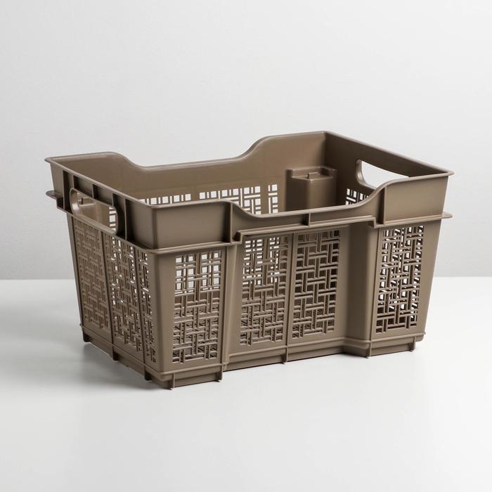 Ящик универсальный 16 л, 40×30×22 см, цвет капучино - фото 493249