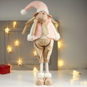 """Кукла интерьерная """"Лосик в розовом меховом жилете"""" 85х15х27 см"""