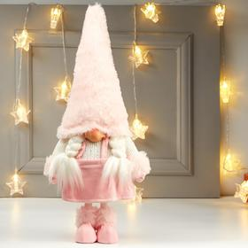 """Кукла интерьерная """"Бабусечка в розовой юбке и розовом колпаке"""" 48х12х20 см"""