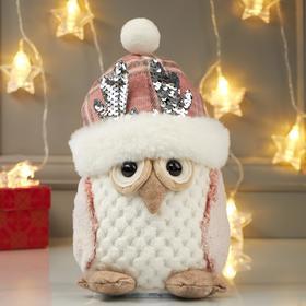 """Кукла интерьерная свет """"Совушка в розовой шапке с оленьими рожками"""" 25х15х15 см"""