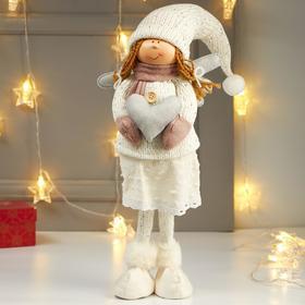 """Кукла интерьерная """"Ангелочек Мила с сердцем в белом наряде, в розовых варежках"""" 65х12х15 см   482269"""