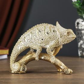 """Сувенир полистоун """"Хамелеон на ветке"""" песочное золото 16х6,5х20,5 см в Донецке"""