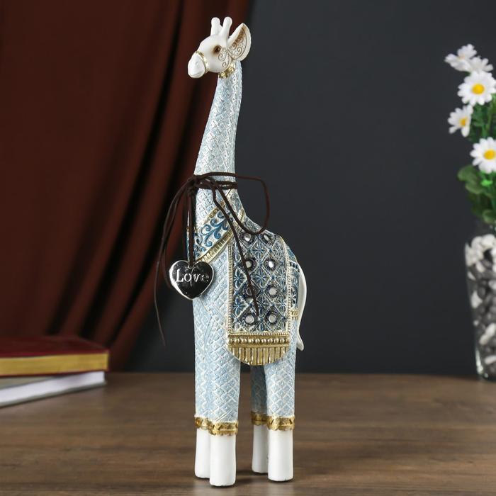 """Сувенир полистоун """"Жираф - голубые узоры, с сердечком"""" 34,5х5х10,5 см"""