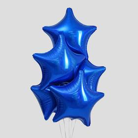 "Balloon foil Star 22"", set of 5 PCs holography, color blue"