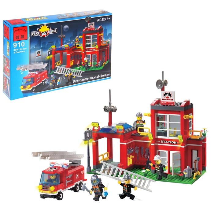 Конструктор «Пожарная станция», 380 деталей и 4 фигурки