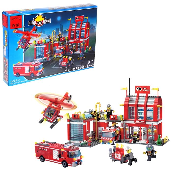 Конструктор «Пожарная станция», 980 деталей и 8 пожарных - фото 1561965