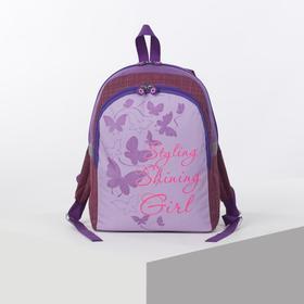 Рюкзак школьный, отдел на молнии, наружный карман, цвет сиреневый