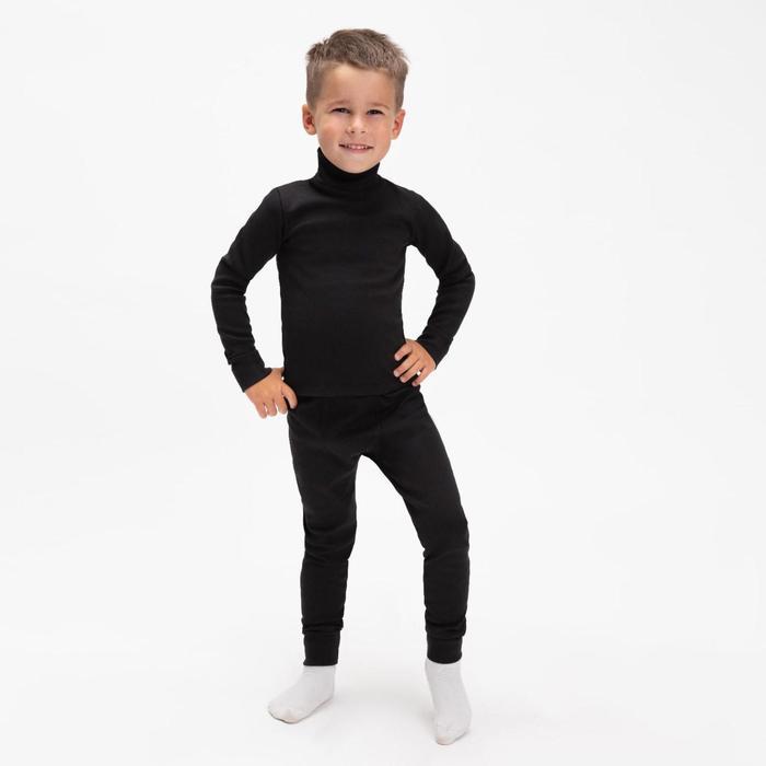 Термобельё для мальчика (водолазка,кальсоны), цвет чёрный, рост 134 см (36)