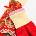 """Варежки для девочки """"Матрёшка"""" А.023, цвет красный, размер 12 - фото 105569174"""