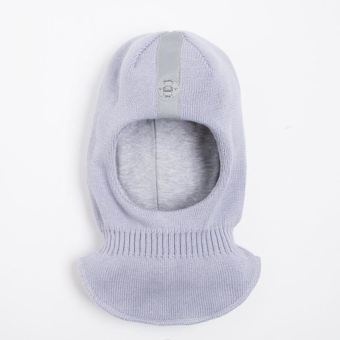 Шлем-капор детский, цвет серый, размер 54-56 - фото 76385084