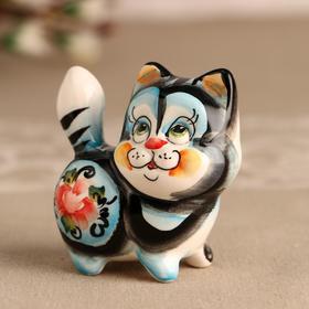 Souvenir Cat color 7 cm, Gzhel