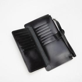 Кошелёк женский, отдел на молнии, с ручкой, цвет чёрный - фото 59024
