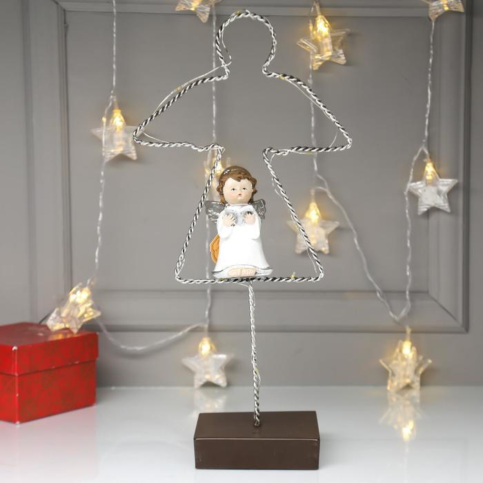 """Сувенир полистоун свет """"Ангелочек с книгой в белом платье"""" 35,5х9х18 см"""