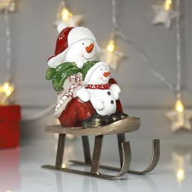 "Souvenir Polyresin ""Snowman with baby on sled"" 20х8,5x16 cm"