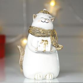 "Souvenir Polyresin ""Cat in a Golden hat and scarf gift"" 14х8х9 cm"