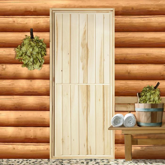 """Дверь для бани """"Экстра"""", вертикаль, коробка ЛИПА 170×70см"""