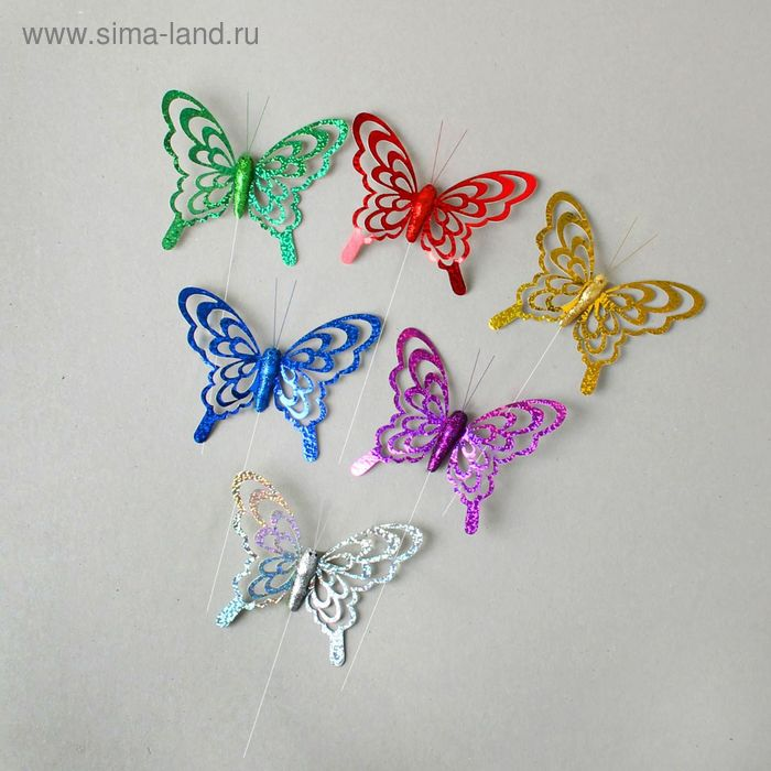 "Декор на палочке ""Бабочки"", цвета МИКС (УС201202-8)"