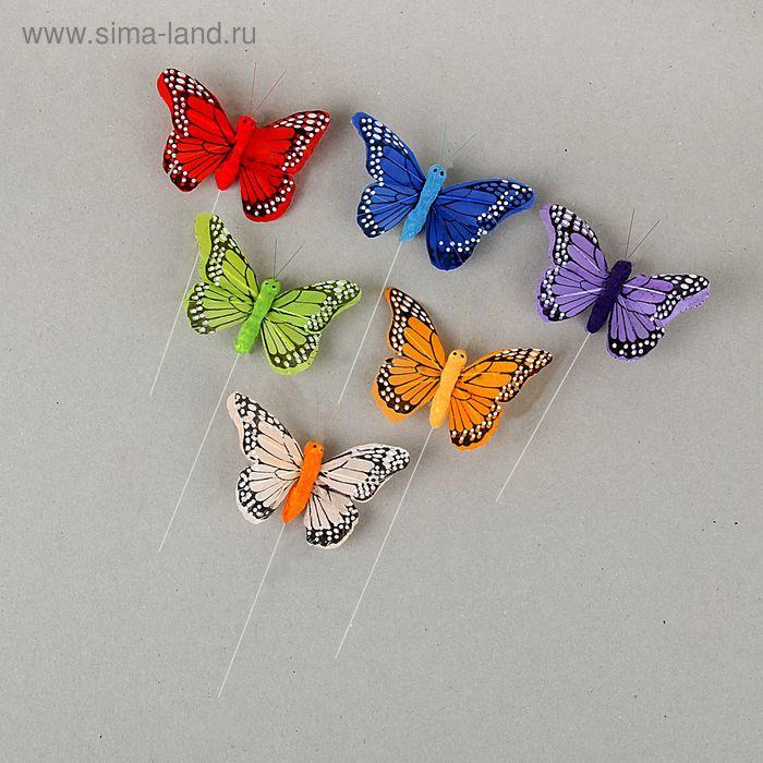 """Декор на палочке """"Бабочки"""", цвета МИКС (А21-78-8)"""