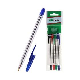Набор ручек шариковых микс 4 цвета «Стамм» 111, узел 1.0 мм, чернила: синие, красные, зелёные, чёрные, европодвес