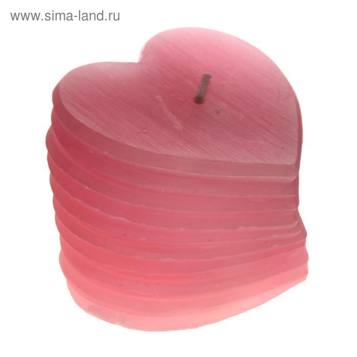 """Свеча восковая """"Веер из сердец"""", цвет розовый"""