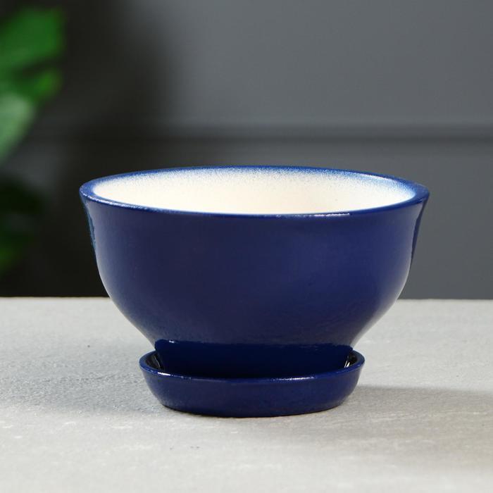 """Цветочный горшок """"Фиалка"""" 0,6 л, глазурь, синий - фото 845590"""